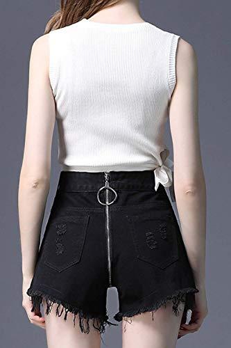 Pantalones Color De Cremallera Mezclilla Sólido Schwarz Cortos Alta Cintura Encaje Adelina Mujeres Ropa Y Con Rasgados Acogedores Las Bolsillos OqHxdnEw