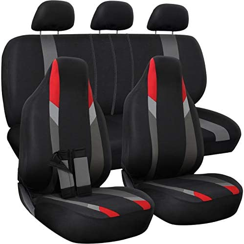 OxGord Car Seat Cover - Poly Cloth Black Red and GrayLow Bucket and 50-50 or 60-40 Rear Split Bench - Universal Fit for Cars Truck SUV Van - 10 pc Complete Set