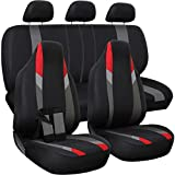OxGord Car Seat Cover - Poly Cloth Black, Red and Gray with Low Bucket and 50-50 or 60-40 Rear Split Bench - Universal Fit for Cars, Truck, SUV, Van - 10 pc Complete Set