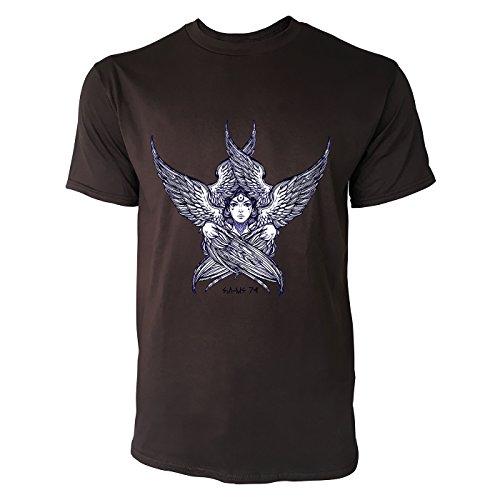SINUS ART® Frauengesicht mit Flügeln Herren T-Shirts in Schokolade braun Fun Shirt mit tollen Aufdruck