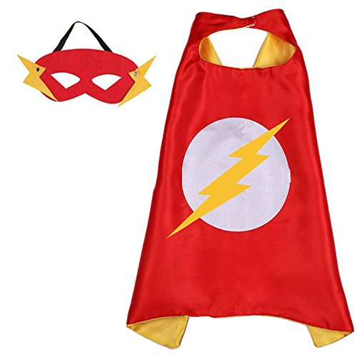 [Athena Superheroes Dress Up The Flash Logo Cape and Mask Gift Box Included] (Super Hero Costumes For Teens)