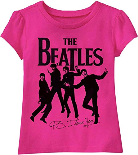 The Beatles P.S. I Love You Toddler Girls' T-Shirt, Pink, - Shirt Rock Toddler Girls