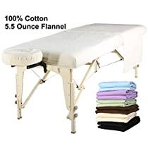 Mt Universal Massage Table Flannel Sheet Set 3 in 1 Table Cover, Face Cushion Cover, Table Sheet, Pure White