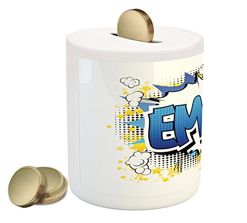 Ambesonne Emma Coin Box Bank, Youthful Energetic Name Design for Teenage Girls Cartoon Stars and Burst, Printed Ceramic Coin Bank Money Box for Cash Saving, Blue Yellow and - Emma Piggy Bank