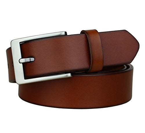 Bullko Men's Genuine Leather Casual Dress Belt Brown 33mm Width Size 34-36inch (Leather Red Brown)