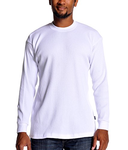 Pro Club Men's Heavyweight Cotton Long Sleeve Thermal Top, White, Large