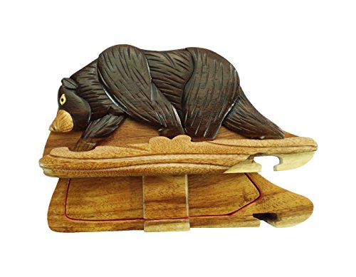 Bear on a Log in The Woods Hand-Carved Puzzle Box with No Paints! No Stains! Hidden Felt Lined Interior That hides Jewelry, Gift Cards, or Money. No Two Will Ever be Identical! Pet Carvers