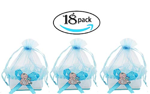 Noex Direct Baby Shower Favors Mini Candy Bottle Candy Bags Gift Box Cute Party Suppliers Decoration Basket for Baby Boys Girls Birthday Wedding, Blue, -