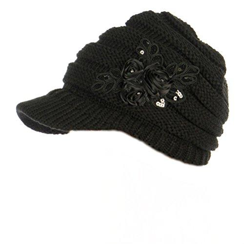 C.C Exclusives Women's Sequined Flower Knit Newsboy Visor Cap (Black)