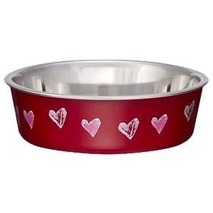 Loving Pets Bella Bowl Designer & Expressions, Dog Bowl, Large, Hearts, Valentine Red