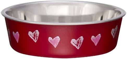Loving Pets Bella Bowl Designer & Expressions Dog Bowl, Small, Hearts, Valentine Red
