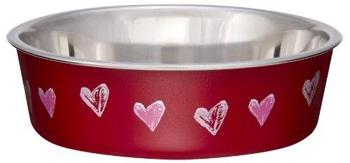 Loving Pets Bella Bowl Designer & Expressions Bowl para perros, Corazones pequeños, Valentine Red