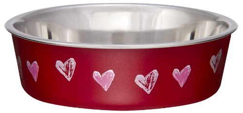 Image of Loving Pets Bella Bowl Designer & Expressions Dog Bowl, Small, Hearts, Valentine Red