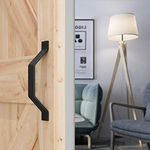 """DonYoung 9"""" Classic Barn Wood Door Handle and Pull, Frosted Black Quality Steel Pull for Sliding Door Gate, Cabinet Garages Sheds Closet, Screws Included"""