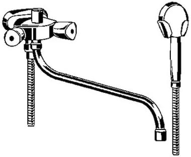 Kludi Wannen und Brausebatterie DN 10,45 mm mit Grt und Terral-Griffen 254130515 verchromt