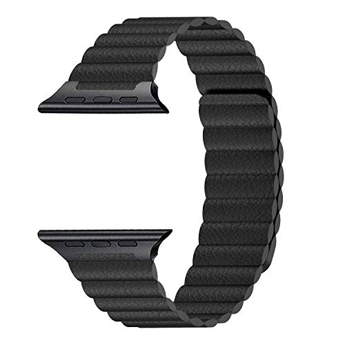 InUnity Compatible with Apple Watch Band 44mm 42mm Color Black - Upgrade Adjustable Leather Loop Strap with Ultra Secure Magnetic Closure System for iWatch Series 4/3/2/1 ()
