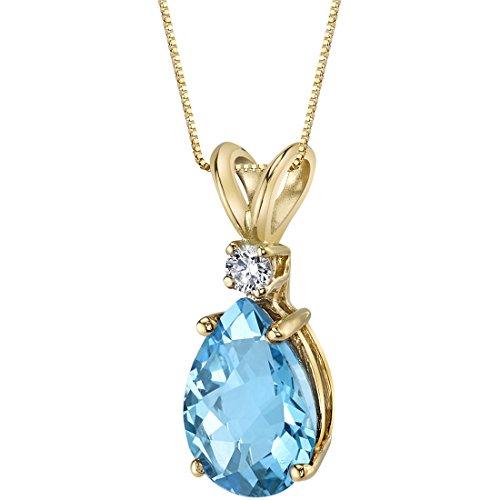 (14 Karat Yellow Gold Pear Shape 2.25 Carats Swiss Blue Topaz Diamond Pendant)