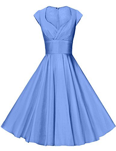GownTown Womens Dresses Party Dresses 1950s Vintage Dresses Swing Stretchy Dresses, Light Blue, Small