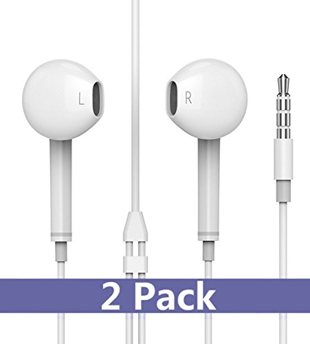 Elfmo Earbuds, Headphones with Microphone New Earphones for apple iPhone 6s 6 Plus 5s 5 4s 4 SE iPad iPod 7 and all 3.5mm Headphones devices. (white) 2 Pack