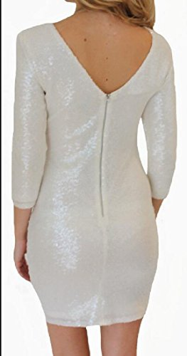 Coolred-femmes Moulantes Dos Nu Manches Demi Sequin Robe Col Rond Blanc