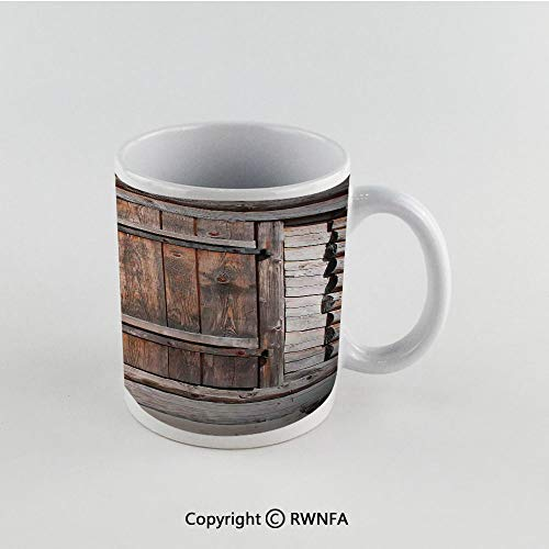 11oz Unique Present Mother Day Personalized Gifts Coffee Mug Tea Cup White Vintage,Rustic Wooden Door of Old Barn in Farmhouse Countryside Village Aged Rural Life Image,Brown Funny Ceramic Coffee Tea