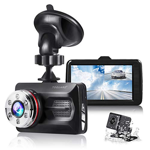 TOGUARD Dual Dash Cam Car Camera 1080P Front and 720P Rear View Backup Camera 170° Wide Angle 3.0