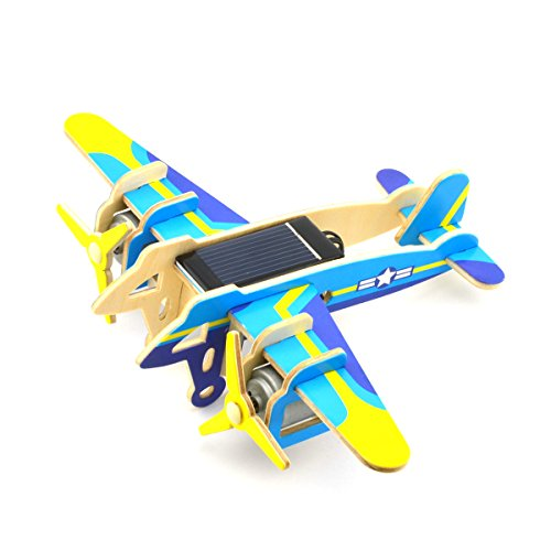 (Toyvian Funny Children Kids DIY Educational Assembly Puzzle Solar Powered 3D Wooden Falcon Twin-Engine Bomber Helicopter Aircraft Woodcraft Toy)