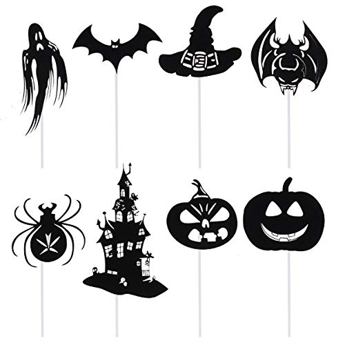 Amosfun 8 UNIDS Bat Cake Toppers Spider Toppers Castillo Toppers Calabaza Magdalena Decoraciones Fiesta de Halloween Suministros
