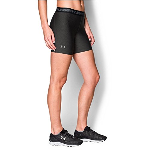 """Under Armour Women's HeatGear Armour 5"""" Mid, Carbon Heather/Anthracite, X-Small"""