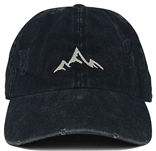 (H-214-MOUNTAIN06 Dad Hat Distressed Vintage Baseball Cap - Mountains (Black))