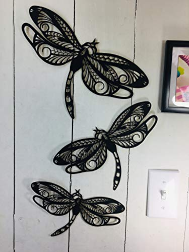 3 Dragonflies - Large Dragonfly Approx 12 x 8 inches - This is NOT Vinyl Decal or Peel Stick - 1/16 inch Thick matboard - Easily Tak-it-Up with Plasti-Tak provided Removable Paintable Wall Décor (Dragonfly Art Wall)