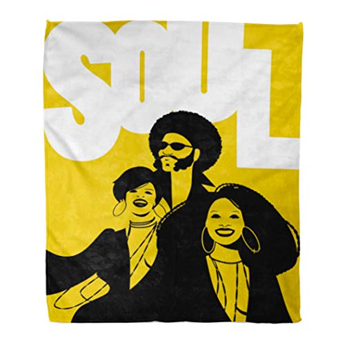 Emvency Flannel Throw Blanket 70S Soul Music Group of Man and Two Girls Soft for Bed Sofa and Couch 50x60 -