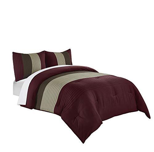 (Chezmoi Collection Harper 3-Piece Luxury Striped Comforter Set (Queen, Burgundy/Brown/Coffee))