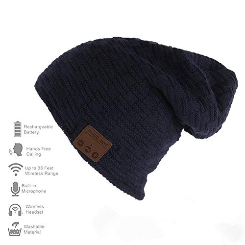 Happy-top Wireless Bluetooth Beanie Hat 4.2 Unisex Winter Warm Knitted Hat Trendy Cap with Stereo Headphone Headset Speaker Mic Hands-free for Sports Workout Best Christmas Gifts (Smlattice Dark -