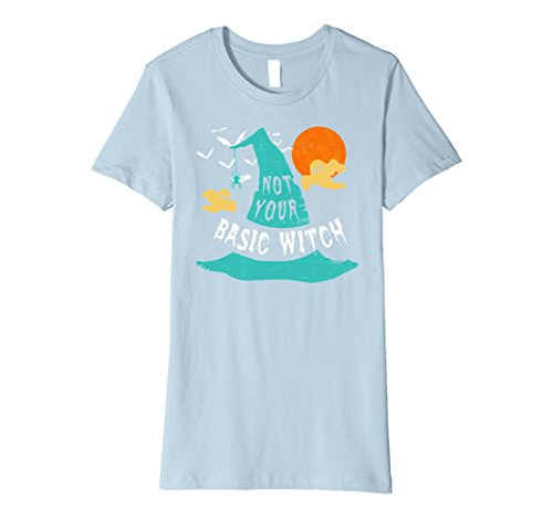 Womens Not Your Basic Witch Funny Halloween Shirt Witch Hat Costume Medium Baby Blue