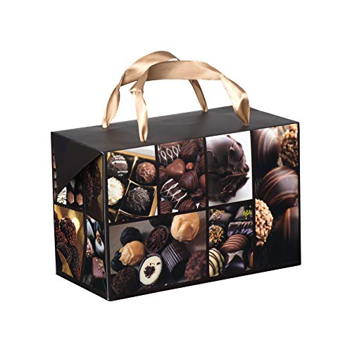 Chocolate Design Paper Gift Bag Box–Foldable Party Favors Treat Bags with Ribbon Handles for Baby Shower, Holiday and Birthday Parties 7