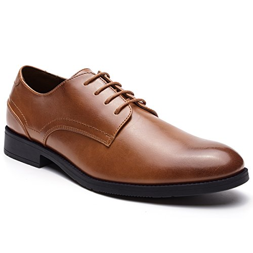 JOMEN Men's Leather Lined Lace-up Plain Toe Formal Dress Oxford Shoes Brown 10.5