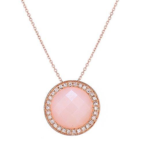 Revoni Bague en or rose 9ct-Diamant et collier pendentif opale rose