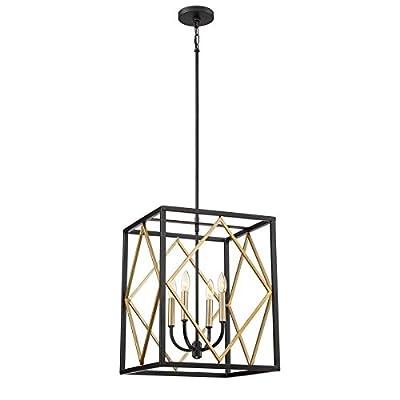 Quoizel Platform 16-in Black with Gold Hardwired Multi-Light Pendant
