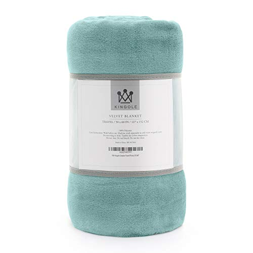 Kingole Flannel Fleece Microfiber Throw Blanket, Luxury Celadon Travel/Throw Size Lightweight Cozy Couch Bed Super Soft and Warm Plush Solid Color 350GSM (50 x 60 inches)