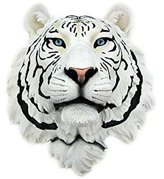 (White Tiger Head Mount Wall Statue Bust)