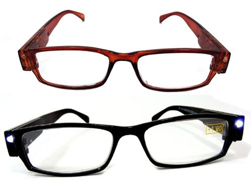 Schonfeld 2 Pack Reading Glasses with 2 LED Lights (+2.0, Black and - Reading Glasses Light Up