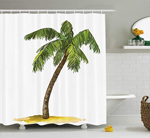 Ambesonne Palm Tree Shower Curtain, Cartoon Palm Tree Image Tropical Plant and Sand Serenity Nature Foliage Print, Cloth Fabric Bathroom Decor Set with Hooks, 70