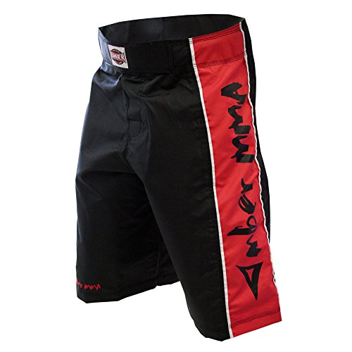Amber Fight Gear MMA Fight Shorts Black/Red, XX-Large by Amber Fight Gear