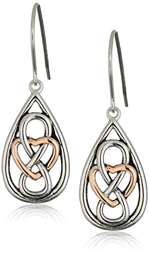 Two Tone Dangling Heart (14k Rose Gold Plated Sterling Silver Two Tone Celtic Infinity Heart Knot Teardrop Dangle Earrings)