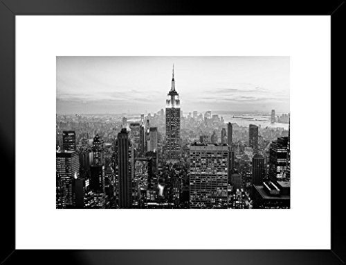 Poster Foundry Empire State Building New York City NYC Skyline B&W Photograph Photo Art Print Matted Framed Wall Art 26x20 inch