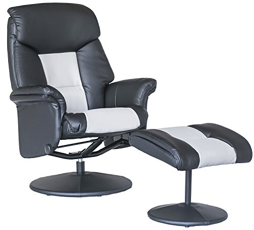 Merax Contemporary PU Leather Recliner and Ottoman with Wrapped Base, Black and Grey (Black&Grey)