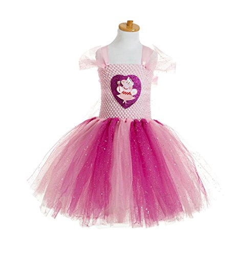 Little Little Smile Girls Summer Peppa Pig Handmade Birthday Party Tutu Dress Pink (4y, Pink)