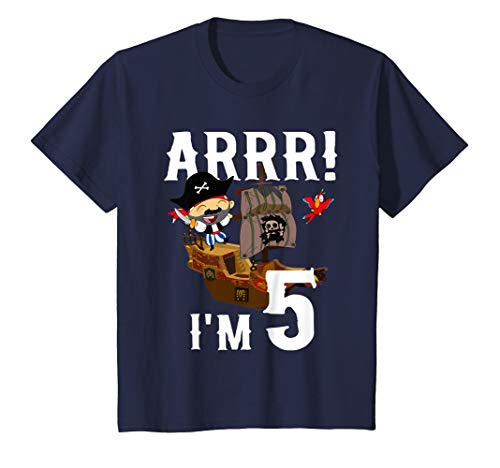 (Kids 5 Year Old Pirate Birthday Shirt ARR 5th Party Gift)