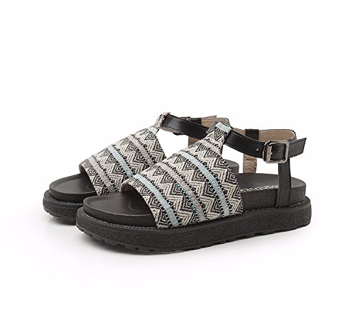 Ankle Strap Black H Ethnic Leather Womens Sandals amp;W Platform Style wn80q84RgO